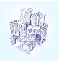Gift box hand drawn llustration realistic vector