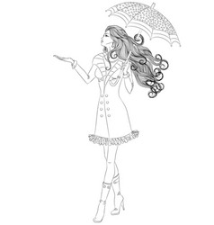 girl walking under an umbrella vector image