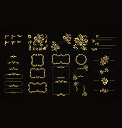 Golden calligraphic design elements on the vector