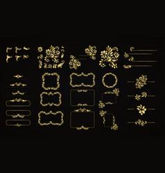 Golden calligraphic design elements vector