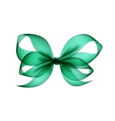 Green Emerald Transparent Bow on White Background vector