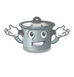 Grinning cartoon cookware stock pot in kitchen vector