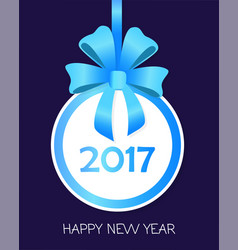 happy new year round banner with blue ribbons vector image