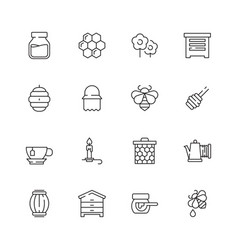 Honey symbols apiary icons flowers honeybee vector