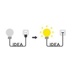 Icon concept of light bulb with idea word cable vector