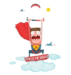 Kitesurfing superman trick cartoon vector