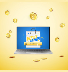 laptop with cashback banner on screen and button vector image