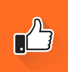 like icon in flat style isolated on orange vector image