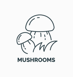 linear icon and of edible mushrooms vector image