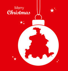 merry christmas theme with map of dallas vector image