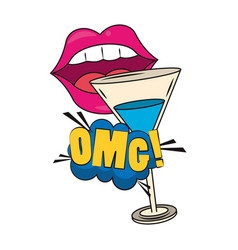 Mouth and cocktail design vector