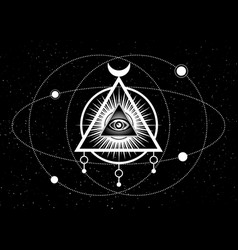 mystical drawing all-seeing eye orbits planets vector image