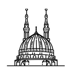 Nabawi mosque icon doodle hand drawn or outline vector