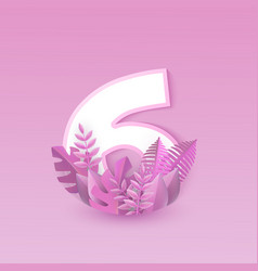 number six pink design with vector image
