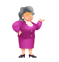 old female teacher granny character adult isolated vector image
