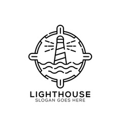 Outline light house logo design lighthouse icon vector