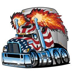 Patriotic american flag semi truck tractor trailer vector