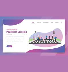 Pedestrian crossing for website template or vector