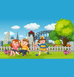 people in city park scene vector image