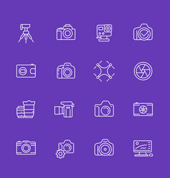 photography thin line icons vector image