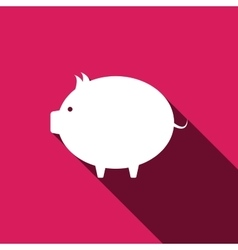 Piggy bank icon Flat design with long shadows vector image