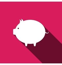 Piggy bank icon Flat design with long shadows vector