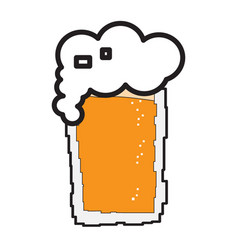 pixelated beer glass icon vector image