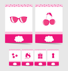 Poster with various elements in pink color vector