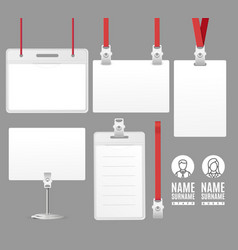 Realistic detailed 3d id card set vector
