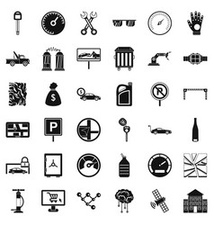Repairing car icons set simple style vector