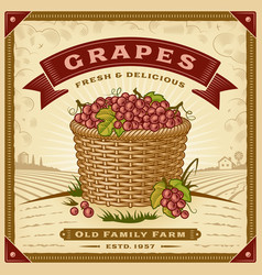 retro grapes harvest label with landscape vector image