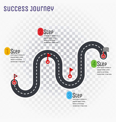 road route infographic line with step-by-step plan vector image