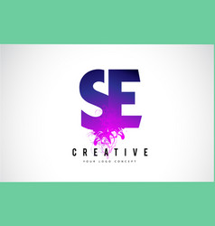 Se s e purple letter logo design with liquid vector