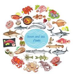 Sea and ocean food round concept vector