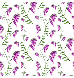 Seamless pattern of green branches with flowering vector
