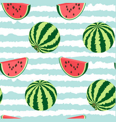 seamless pattern of watermelon whole a piece vector image