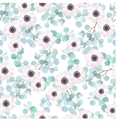 Seamless pattern with eucalyptus branches and vector