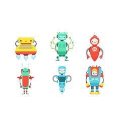 Set cartoon multi-colored robots vector