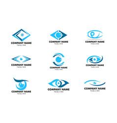 set eye logo design template vector image