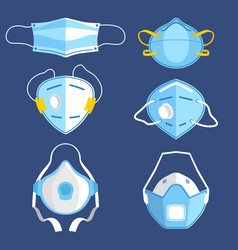 Set isolated respiratory medical masks vector