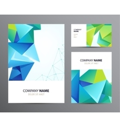Set of business cards flyers with faceted vector