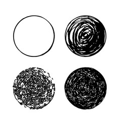 Set of hand drawn scribble circles logo vector