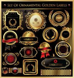 set ornamental golden labels vector image