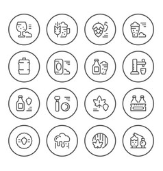 set round line icons beer vector image