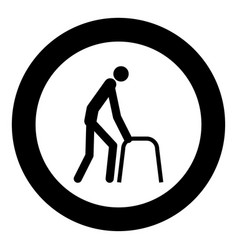 sick man icon black color in circle vector image
