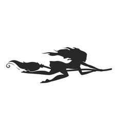 Silhouette of a rapid witch flying on a broomstick vector