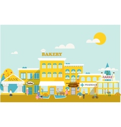 Small town with small and medium business vector