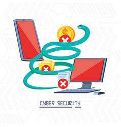 Smartphone and desktop computer with icons cyber vector
