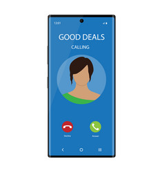 Smartphone with incoming phone call screen user vector