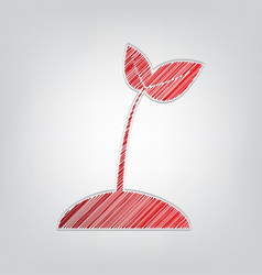 Sprout sign red gradient scribble vector